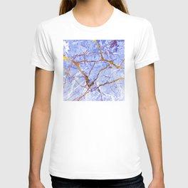 24-Karat Glitter Glam Gold Veins on Blue-Purple Marble T-shirt