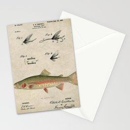 Vintage Rainbow Trout Fly Fishing Lure Patent Game Fish Identification Chart Stationery Cards