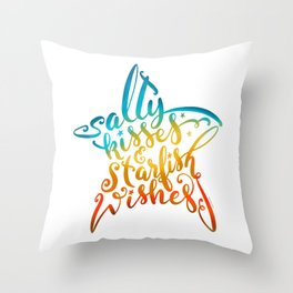 Salty Kisses & Starfish Wishes Beach Hand Lettering Design Throw Pillow