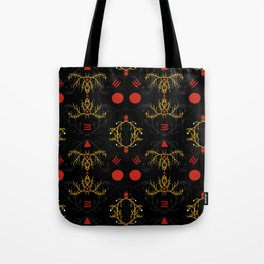 gold and red pattern Tote Bag