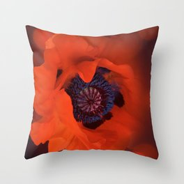 Red Poppy Dark Background & Bokeh Effect Throw Pillow
