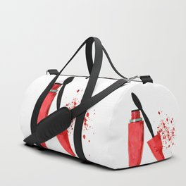 Red mascara fashion watercolor illustration Duffle Bag