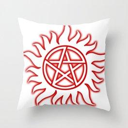Anti Possession Sigil Red Glow Transp Throw Pillow