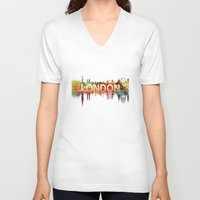 london V-neck T-shirts featuring London  by mark ashkenazi