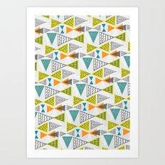 Geometric Mid Century Modern  Triangles Art Print