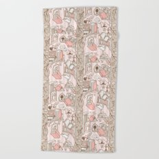 Books: Through the rabbit hole_Pink Cake Beach Towel
