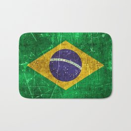 Vintage Aged and Scratched Brazilian Flag Bath Mat