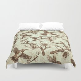 Sepia Hummingbird Pattern Duvet Cover