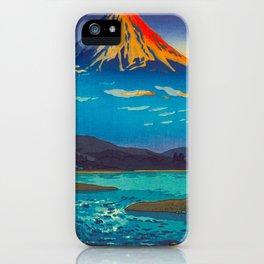 Tsuchiya Koitsu Tokaido Fujikawa Japanese Woodblock Print Sunset Colorful Hues Mountain Landscape iPhone Case