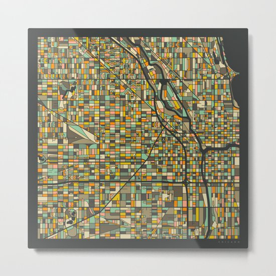 CHICAGO MAP Metal Print