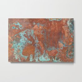 Tarnished Metal Copper Texture - Natural Marbling Industrial Art Metal Print