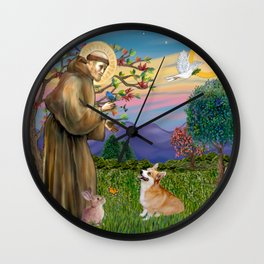 Saint Francis Welsh Corgi (Pembroke) Wall Clock