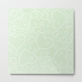 Palest Green and White Hand Drawn Hearts Pattern Metal Print