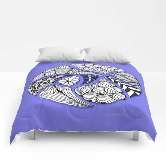 Zentangle Design - Black, White and Purple Illustration Comforters