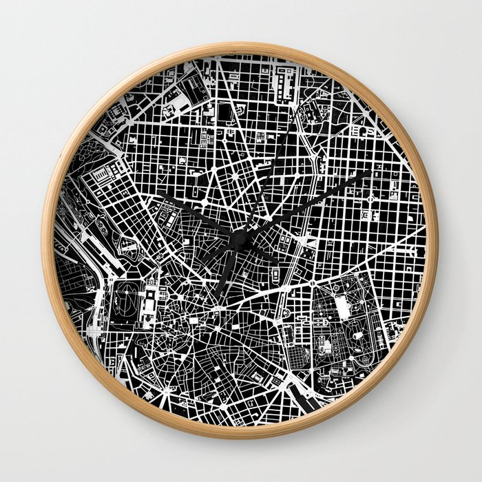 Madrid city map black&white Wall Clock