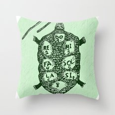 Turtle on Green Throw Pillow