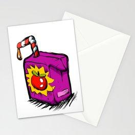 Smiling apple juice box . Stationery Cards