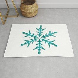 Minimalistic Aquamarine Snowflake Rug