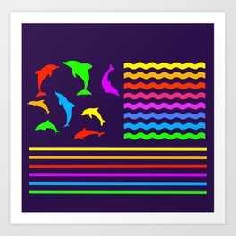 Dolphins of all Colours Art Print