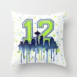 Seattle 12th Man Art Seattle Skyline Space Needle Throw Pillow