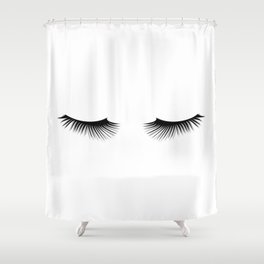 Black And White Lashes Shower Curtain