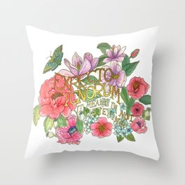 Spring Flowers and butterfly with Quote in latin Throw Pillow