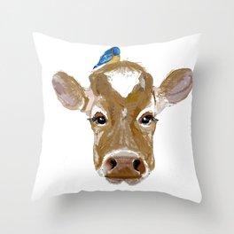 Bluebird Cow Throw Pillow