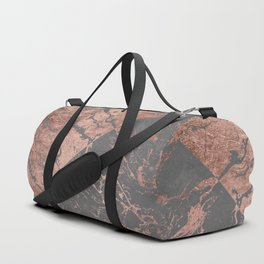 Modern rose gold marble inverted color block grey cement concrete Duffle Bag