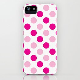 Pink polka dots pattern iPhone Case
