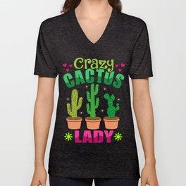 Cactus Succulents Plant Lover Gift Idea Unisex V-Neck