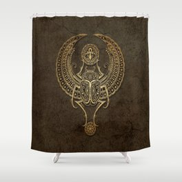 Stone Winged Egyptian Scarab Beetle with Ankh Shower Curtain