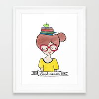 bookworm Framed Art Prints featuring Bookworm by Shawna Miller