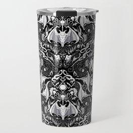 Bats And Beasts - Black and White Travel Mug
