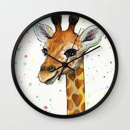 Baby-Giraffe-Nursery-Print-Watercolor-Animal-Portrait-Hearts Wall Clock