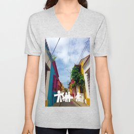 C for Cartagena Fun Cut Out Cartagena Street Print Unisex V-Neck