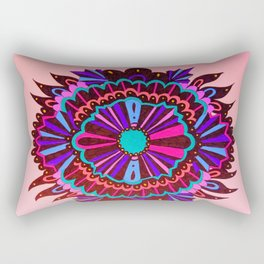 Red Neon Lace Peony Rectangular Pillow