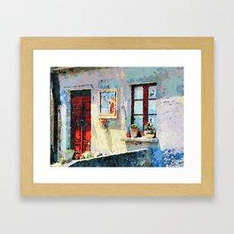 Catanzaro: door, saintly edicule and window Framed Art Print