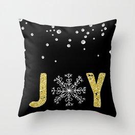 JOY w/White Snowflakes Throw Pillow
