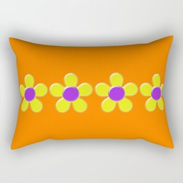 Spring Daisies Jelly Art - Orange Purple Yellow Rectangular Pillow
