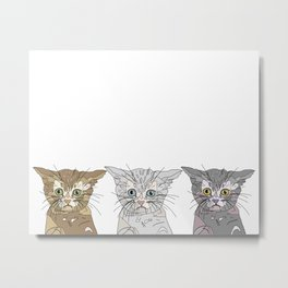 Triple Kitties Metal Print
