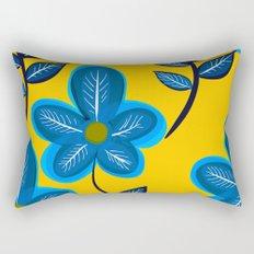 Blue Flowers and Yellow Pattern Rectangular Pillow