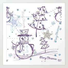 Christmas Elements Winter Snowman Sketch Pattern Art Print