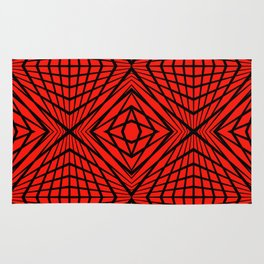 geometric, black on red Rug