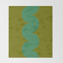 groovy minimalist pattern aqua waves on olive Throw Blanket