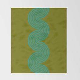 groovy minimalist pattern aqua waves on olive Throw Blanket
