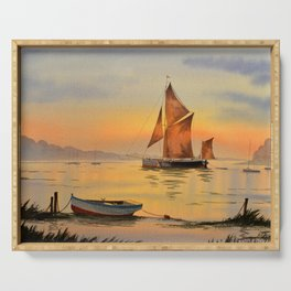 Thames Barge At Sunset Serving Tray