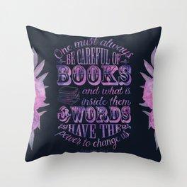 Be Careful Of Books - Black & Purple Throw Pillow