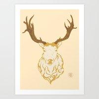 Cream Stag Art Print