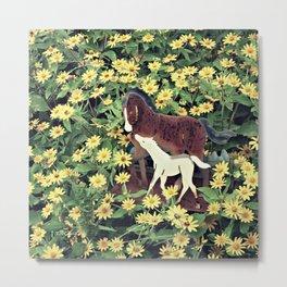 HORSES IN FLOWERS Metal Print