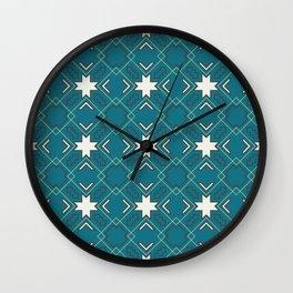 Ethnic pattern in blue Wall Clock